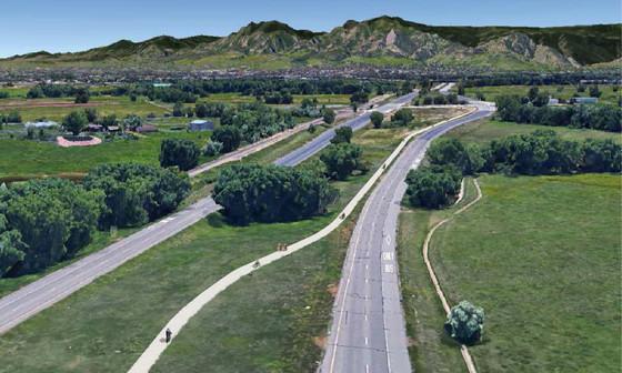 Conceptual rendering of CO 119 (The Diagonal) Bikeway