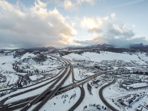 Town of Silverthorne with snow and I70