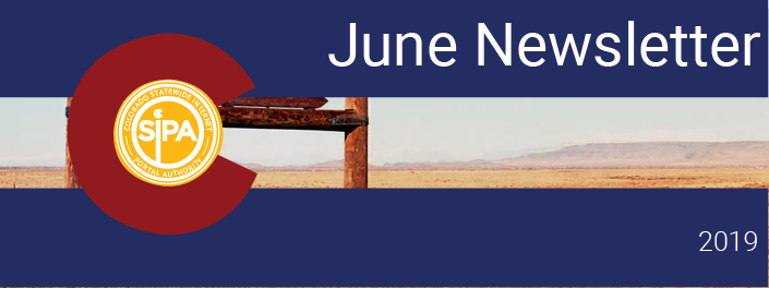 "June Newsletter header, Colorado flag image with desert in the background reading ""June Newsletter"""