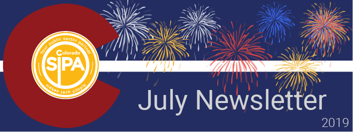 July Newsletter head for Colorado SIPA, fireworks on a blue and white background with the Colorado red D and the SIPA logo inside of it