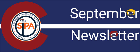 September newsletter header, Colorado SIPA logo with Broncos logo. There are football helmets on the 'E's in September Newsletter