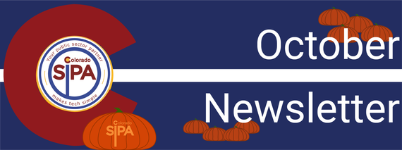 "October Newsletter Header for Colorado SIPA featuring orange pumpkins and a pumpkin carved with ""Colorado SIPA"""