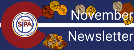 November Newsletter Header features Aspen Leaves fallen to the ground and the colorado SIPA logo