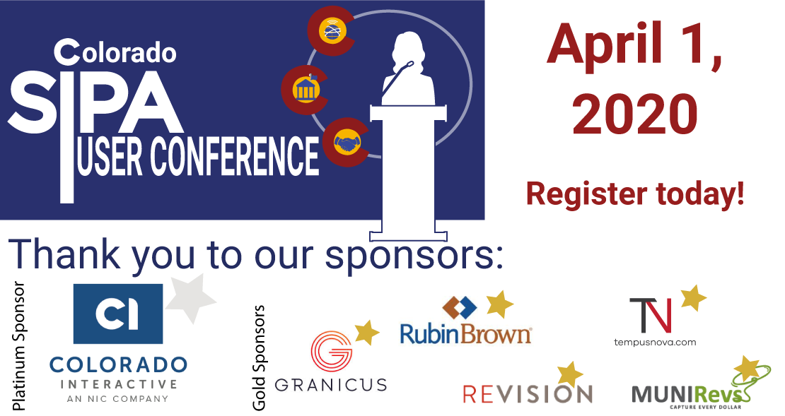 SIPA User Conference April 1, 2020 and thanks to our gold and platinum sponsors!
