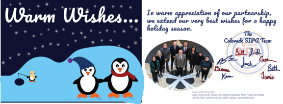 "2019 Holiday Card image of penguins, the SIPA Team, as well as ""Warm Wishes"""