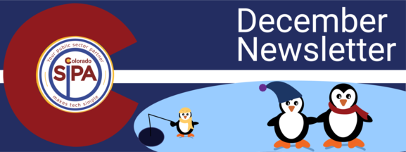 December Header 2019, Colorado SIPA Logo and 3 cute penguins wearing winter clothes