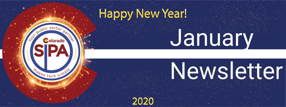 January Newsletter Header - Happy New Year 2020 text with SIPA logo on dark blue background with gold starbursts