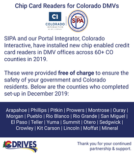 CI & SIPA proud to partner in providing CO Counties Card Chip readers for free