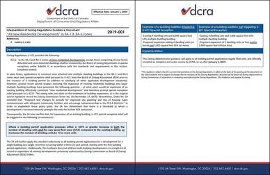Interpretation of Zoning Regulations Guidance Document 2019-001