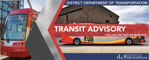 Transit advisory banner