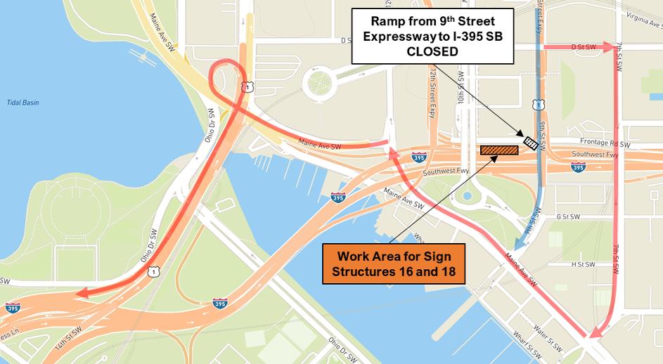 Detour Map for 9th Street Expressway Ramp to I-395 SB / I-695 EB