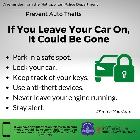 A Reminder from the Metropolitan Police Department - Prevent Auto Thefts
