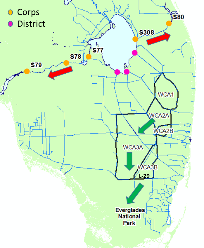 Outflows from Lake Okeechobee