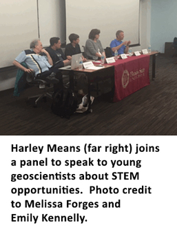 Harley Means (far right) joins a panel to speak to young geoscientists about STEM opportunities.  Photo credit to Melissa Forges and Emily Kennelly.