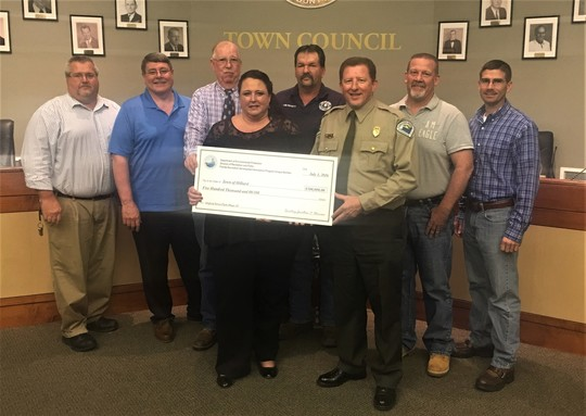 Check presentation to town of Hilliard