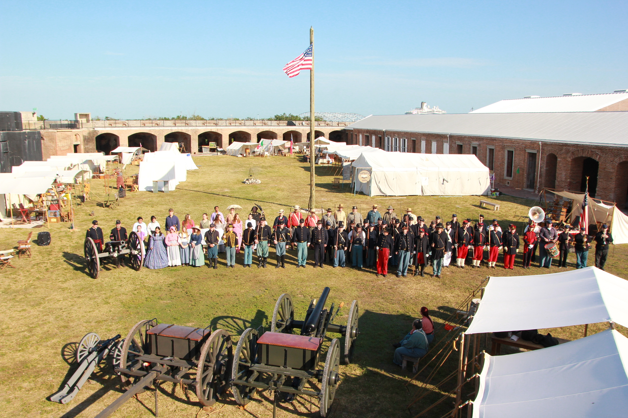 A group picture of Civil War reenacters