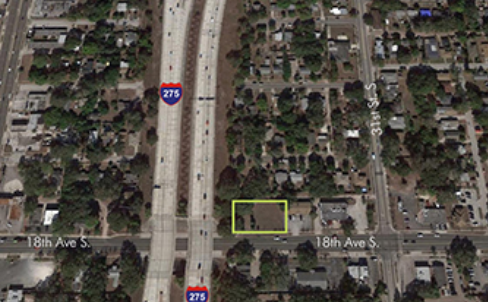 Aerial photo of State of Florida surplus property for sale located in Saint Petersburg Florida.