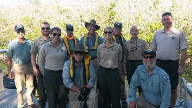 A group picture of Florida State Park Staff after a work day