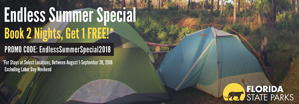 Use code EndlessSummerSpecial2018 to book two nights at select parks and get one night free. See bottom of page for details.