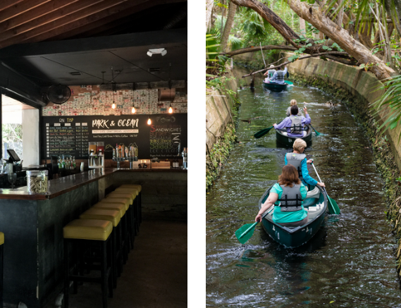 The interior of Park and Ocean, the restaurant at Hugh Taylor Birch State Park, and another photo of canoers paddling down the park's moat.