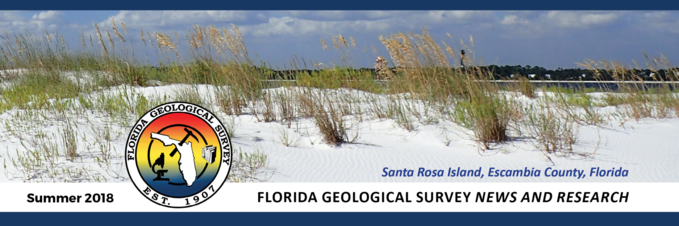 Florida Geological Survey header for Summer 2018 issue of News and Research newsletter