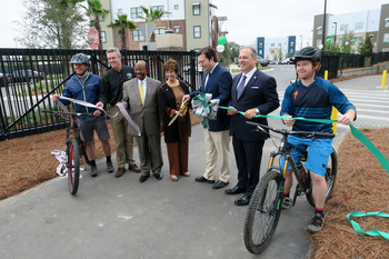 Cutting the ribbon for the new St. Marks Trail extension, by Doug Alderson