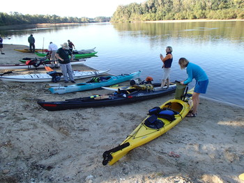 The 2016 RiverTrek group readies to leave Chattahoochee on the Apalachicola River, by Doug Alderson