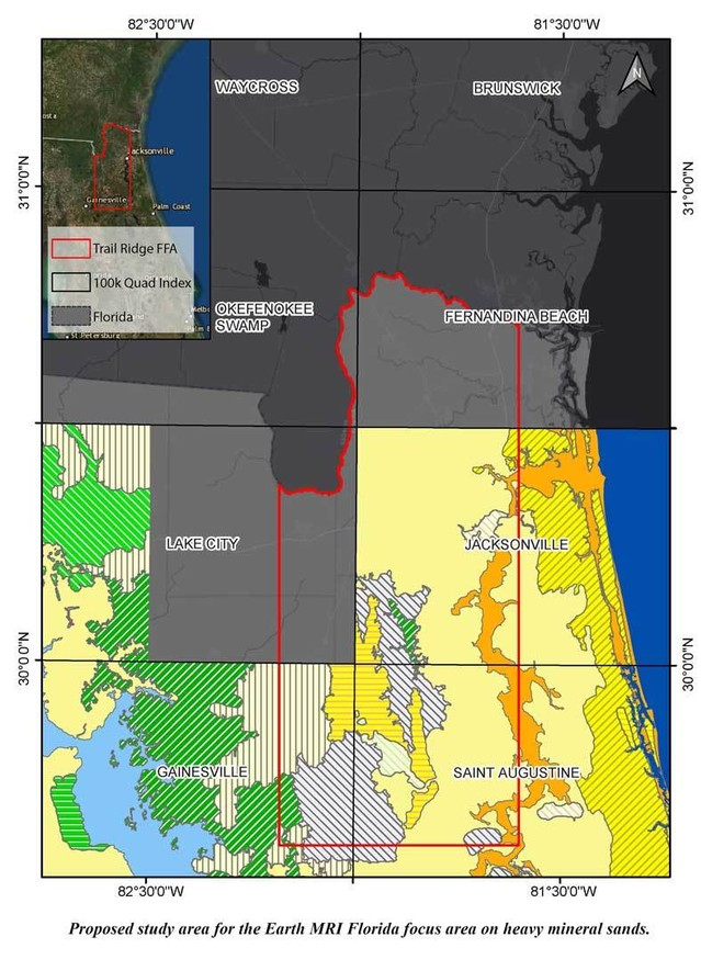 Proposed study area for the Earth MRI Florida focus area on heavy mineral sands