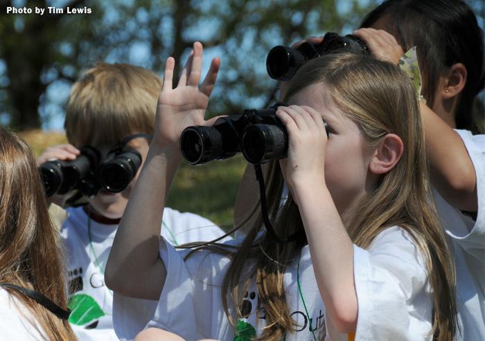 Children with binoculars