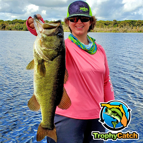 Angler holding trophy bass