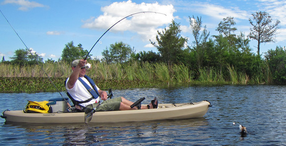 Angler playing a fish