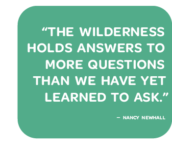"""Nancy Newhall quote: """"The Wilderness holds answers to more questions than we have yet learned to ask."""""""