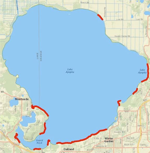 Lake Apopka hot spots map