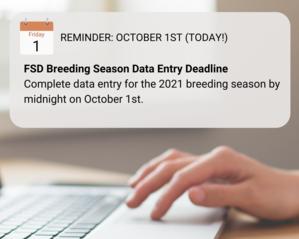 2021 breeding season data entry deadline