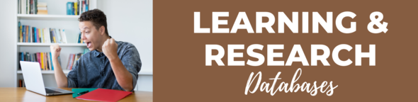 learning and research graphic with happy man at laptop