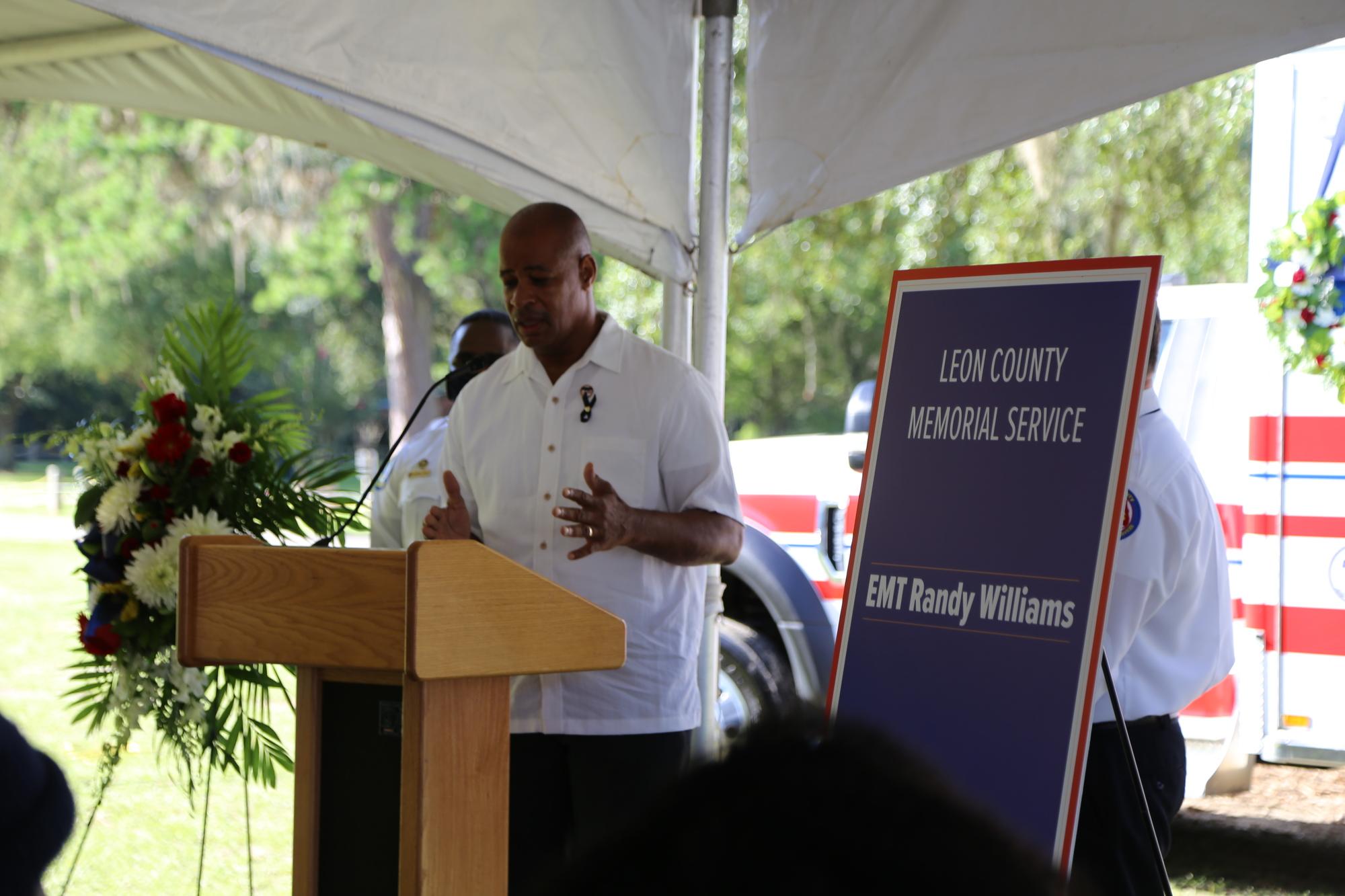 Randy Williams' family member speaking at memorial service.