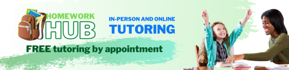 homework hub tutoring online or in person with photo of happy student and tutor smiling