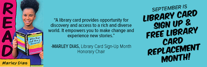 september is library card sign up month and free library card replacement month