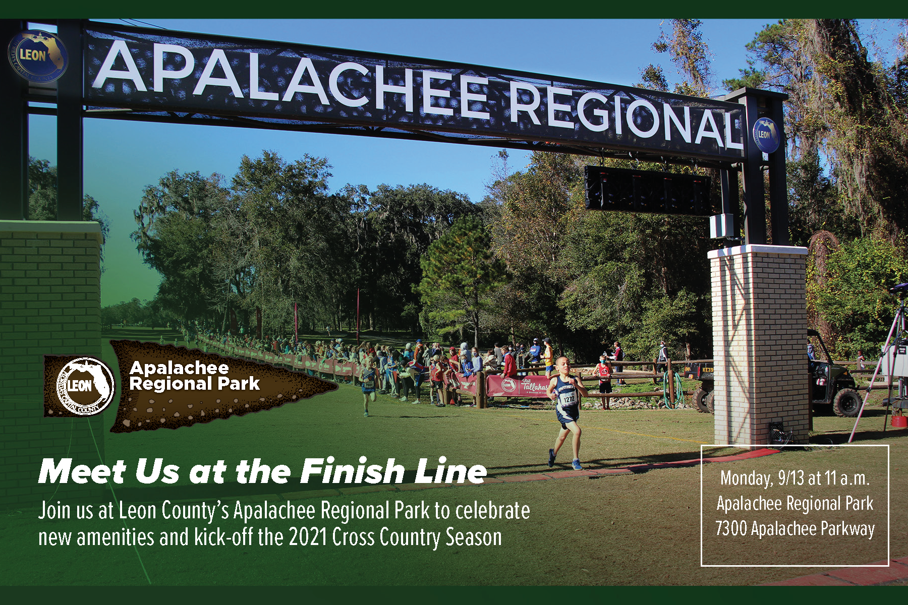 Postcard depicting Apalachee Regional Park finish line with a runner crossing