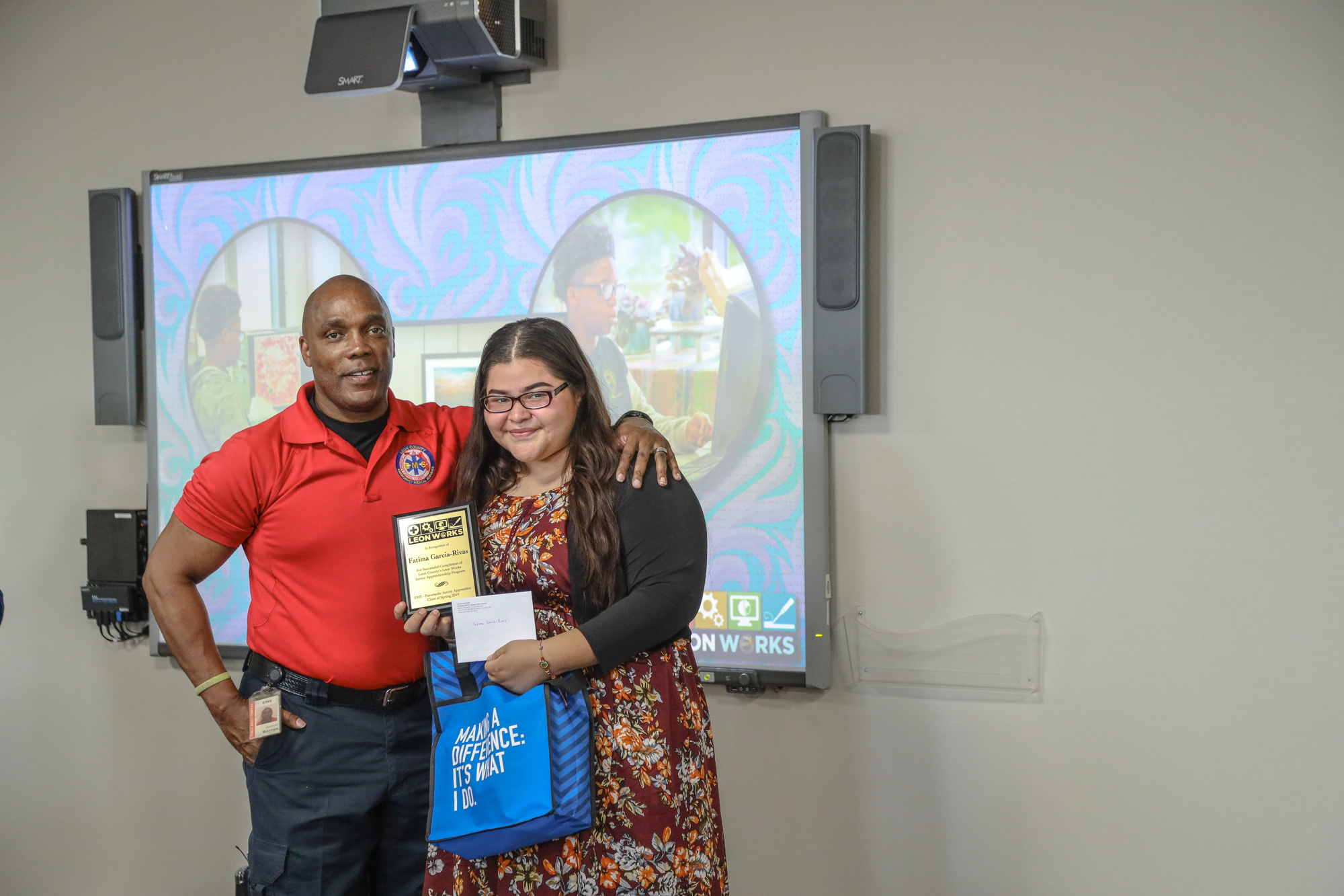 EMS Junior Apprentice pictured with her mentor