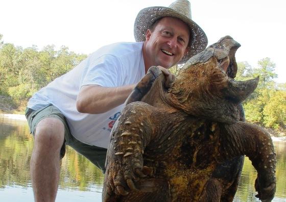 Dirk Stevenson with alligator snapper (Kevin Enge)