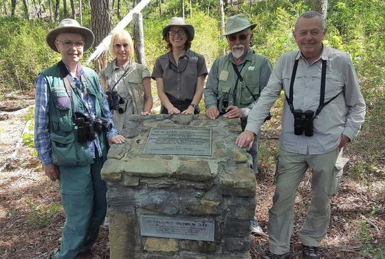 British birders with botanist Lisa Kruse (DNR)