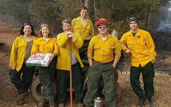 Prescribed fire crew following burn at Lower Broad River WMA (DNR)