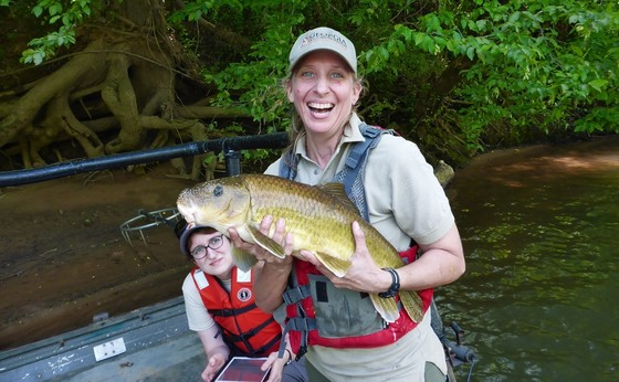 DNR staff with robust redhorse on the Ocmulgee (Peter Dimmick/DNR)