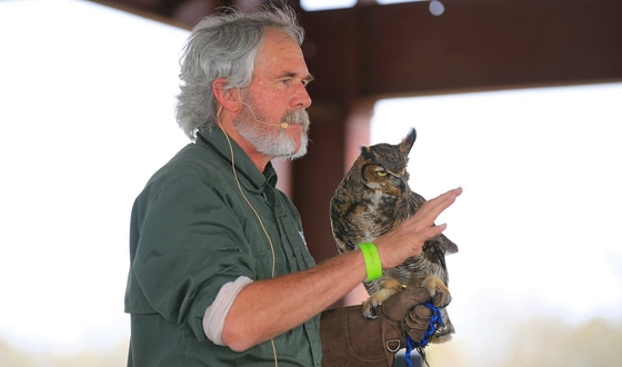 DNR's Pete Griffin discusses great horned owls at the festival (Paul Evans)
