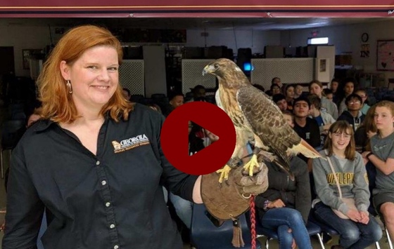 DNR's Linda May at Five Forks Middle School in Lawrenceville