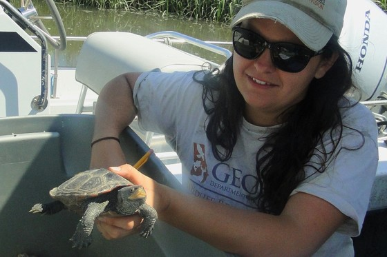 DNR's Ashley Raybould with a diamondback terrapin
