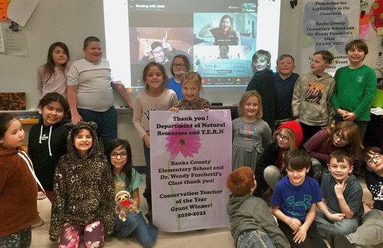 Wendy Fuschetti's students celebrate the grant news by Skype (Banks County Elementary)