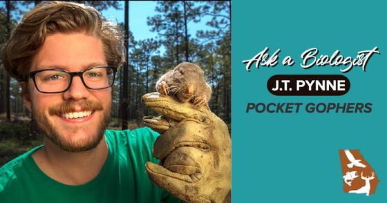 Biologist J.T. Pynne with a pocket gopher