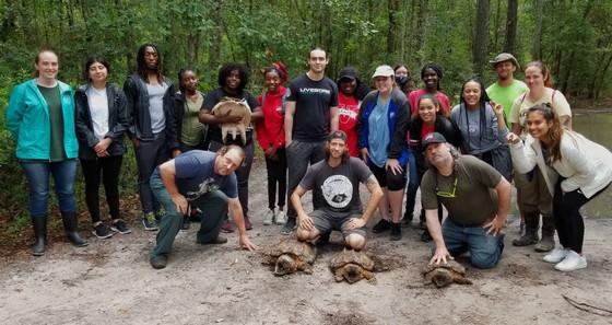 VSU class with turtle haul (Chris Coppola/USFWS)